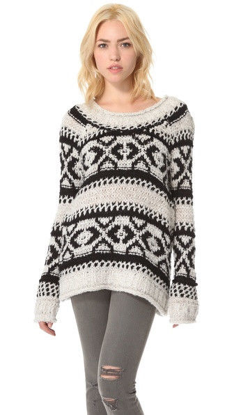 Free People Silver Reed Fairisle Print Sweater Celebrity's Favorite $168 | eBay