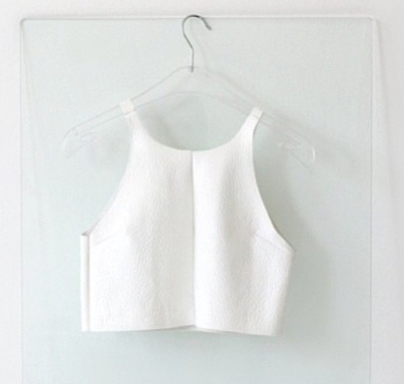 faux leather white tank top crop top ivory vinyl sleeveless