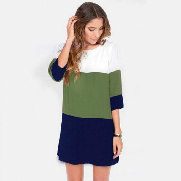 Dress: casual assorted colors mid sleeve dress, casaul outfits ...