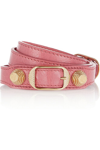 triple gold leather pink jewels