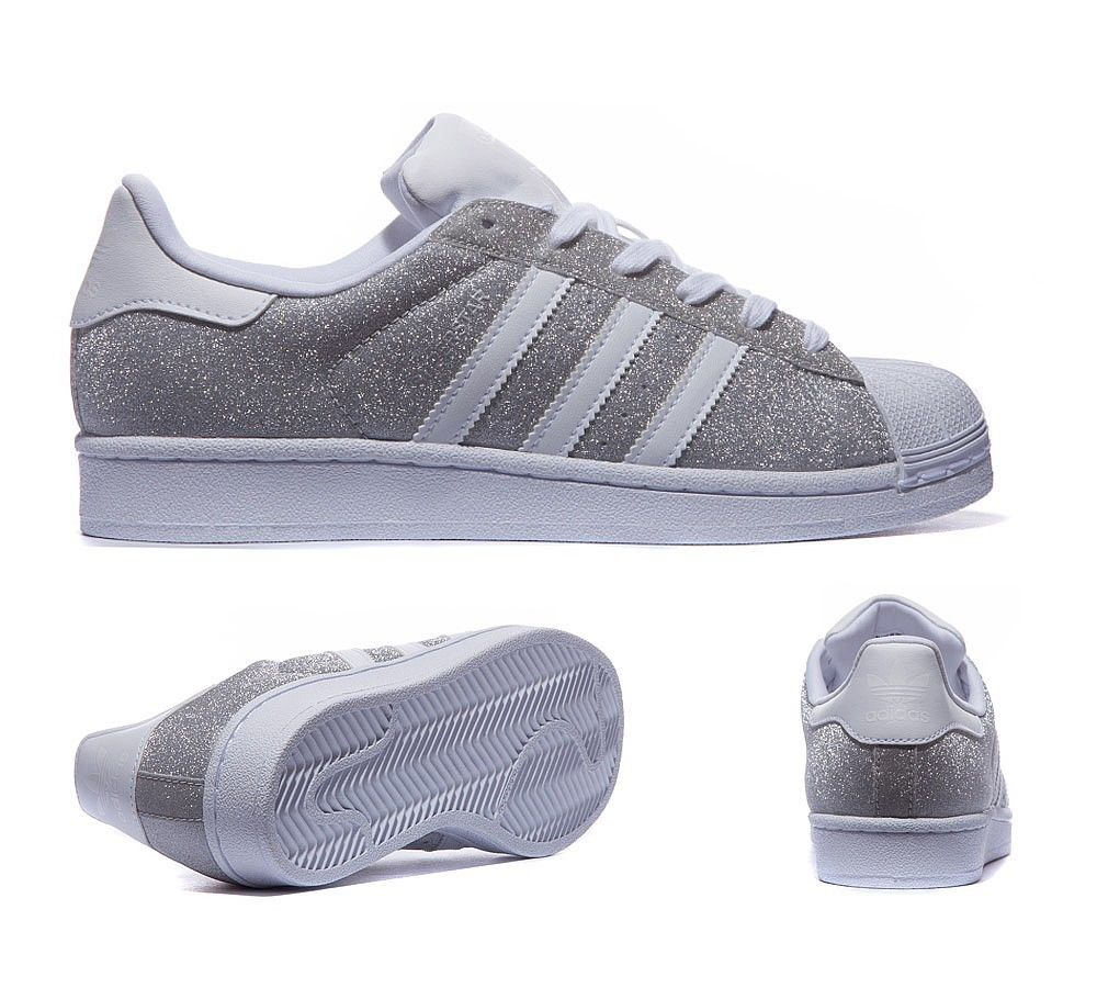 adidas superstar silver white sparkle