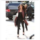 scarf,selena gomez,black pants,black t-shirt,dress for less,sweater