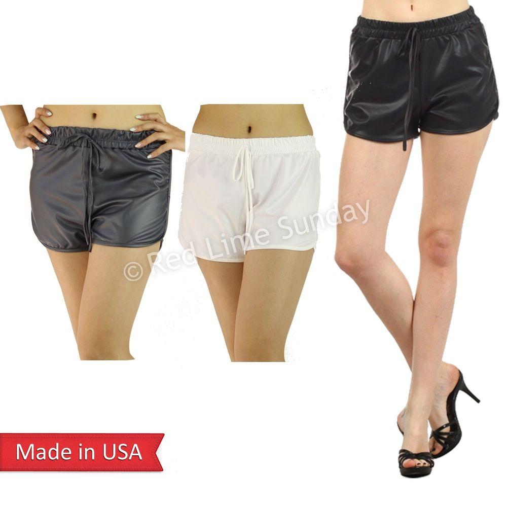New Faux Leather Black White Gray Short Mini Hot Pants Bottom Jogger Pockets USA