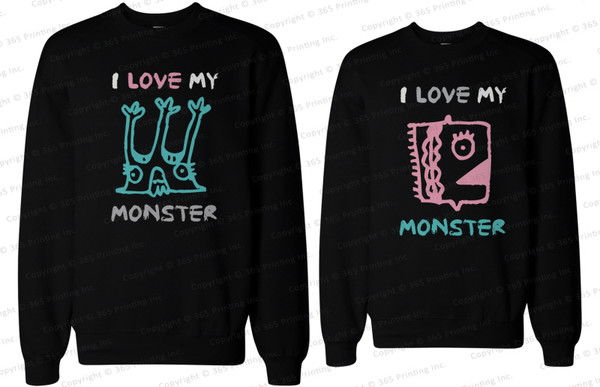 matching sweatshirts couple sweaters matching couple sweatshirts couple matching couples i love my monster monster shirts couple sweaters couple sweaters bf and gf