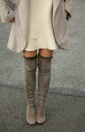 shoes,boots,thigh high boots,thigh highs,taupe heels,lace up,fall outfits,winter boots,tumblr outfit,tumblr,tumblr girl,tumblr clothes,pinterest,instagram,suede boots,all beige everything,boots over knee,beige,overknee boots,greyboots,outfit,cute dress,grey boots,over the knee boots,over the knee,knee height,dress,brown leather boots,cozy,winter outfits,where to get these boots,suede,gray boots,grey,knee high boots,grey suede court shoes,ariana grande