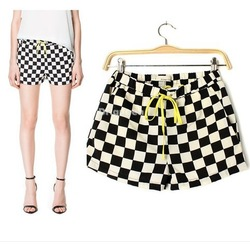 Online Shop Women Girl European Summer Casual Black & White Checkered Print Hot Pants Shorts,1286|Aliexpress Mobile