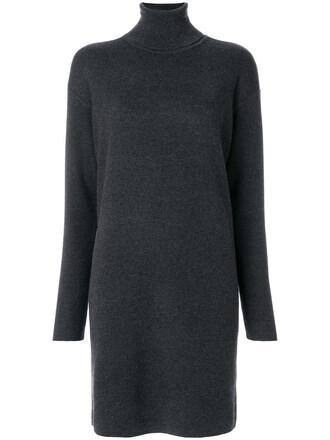 dress sweater dress high women high neck spandex grey