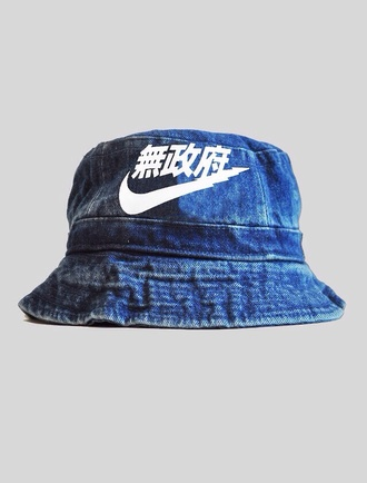 hat bucket hat blue nike bucket hat denim denim bucket hat nike air nike denim asian dope chinese writing chinese urban outfitters urban urban menswear streetwear bob blue hipster menswear