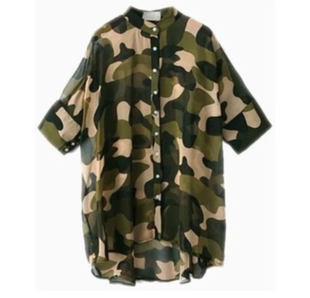 blouse camouflage button camo shirt