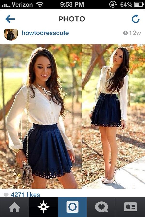 skirt navy blue design shirt