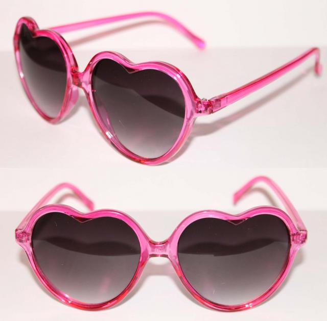 Heart Shaped Sunglasses Vintage Crystal Clear Pink Frame Black Lens Vintage 80s | eBay