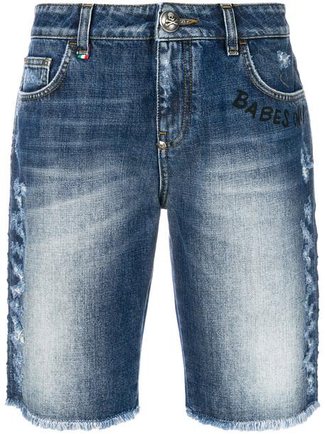 PHILIPP PLEIN shorts women cotton blue
