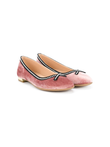 Aquazzura Mini bow shoes leather velvet purple pink