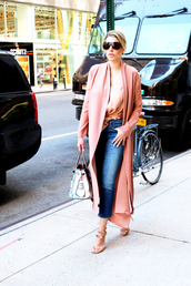 man repeller,blogger,tank top,bag,sunglasses,shoes,silk,pink coat,pink top,skinny jeans,sandals,cropped,cropped jeans