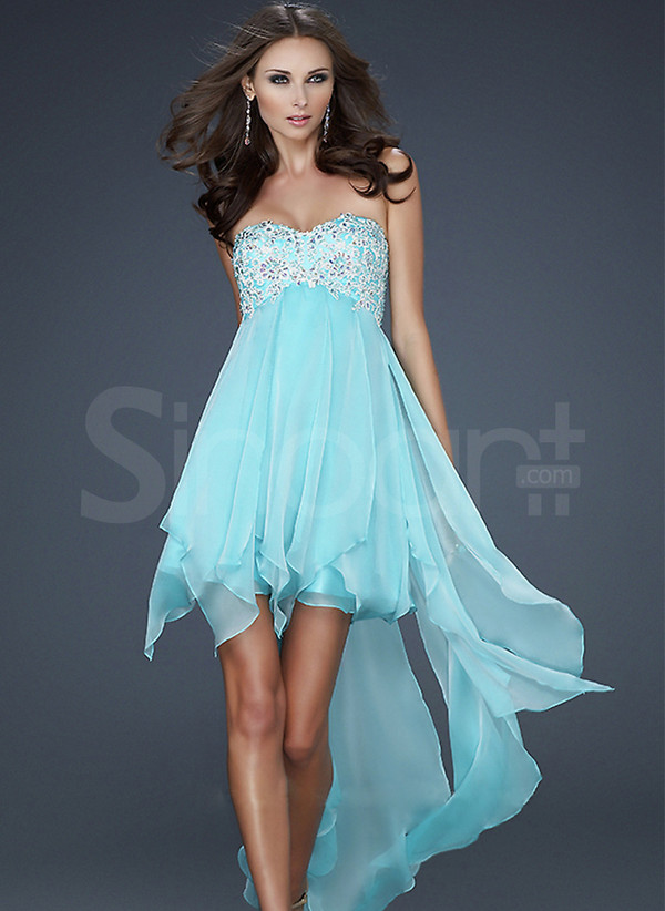 dress pink and blue color chiffon prom dress sleeveless and have beadings