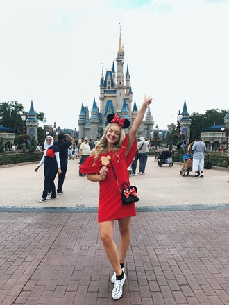 rach martino blogger dress bag shoes top skirt red dress mickey mouse minnie mouse crossbody bag
