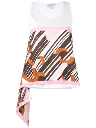 women geometric white cotton print silk top