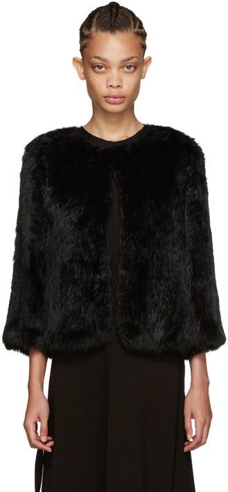 jacket fur jacket knit fur black