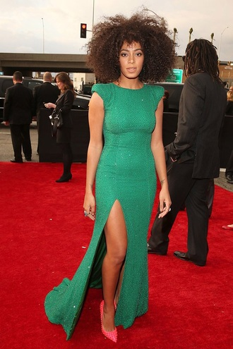 dress green dress sexy dress solange knowles celebrity style outfit fashion classy hairstyles beyoncé red pink heels shoes style shimmer shimmering dress sparkle afro rings and tings accessories classy dress girly girly wishlist girl studs studded shoes pink high heels hot pink pink shoes long prom dress long dress slit skirt slit sleeve elegant dress gown sexy sexy shoes green curly hair curly hairstyle makeup bag makeup brushes legslit red dress awards celebrity bag celebstyle for less