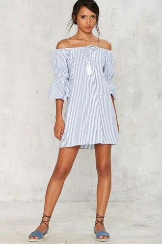 dress stripes striped dress off the shoulder off the shoulder dress blue and white