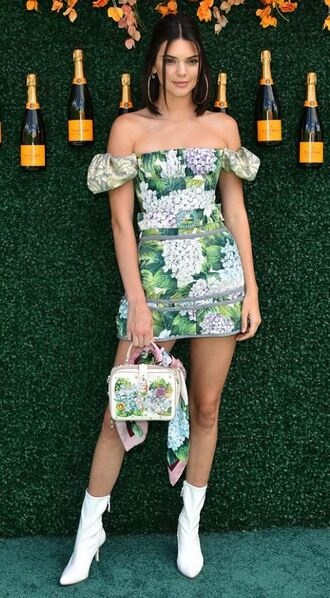 dress floral floral dress mini dress kendall jenner ankle boots spring outfits