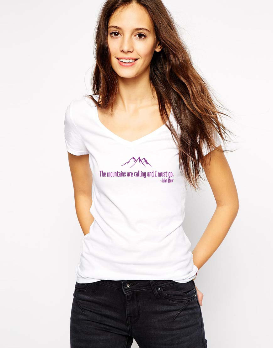 Mountains Are Calling - Womens Mountain Shirt - Hiker Shirt - Gift For Her - Mountain Bike - Pacific Crest Trail - John Muir - Travel Gifts