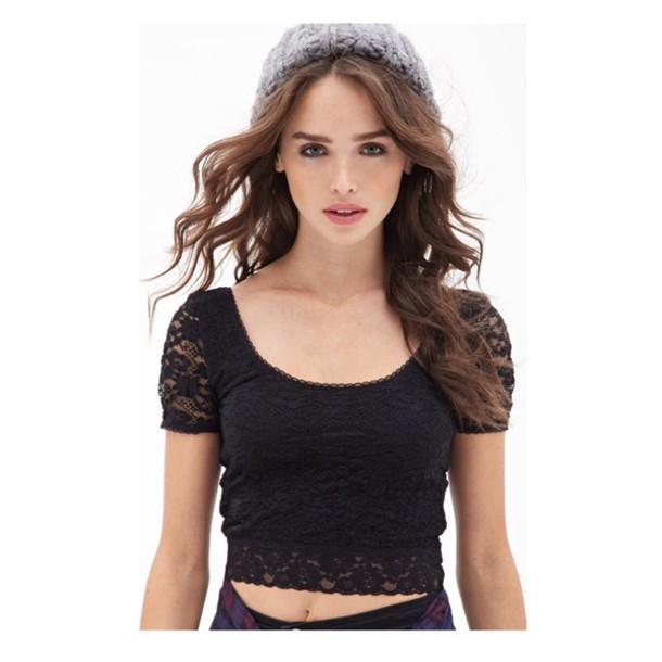 top black lace crop pretty summer vibes