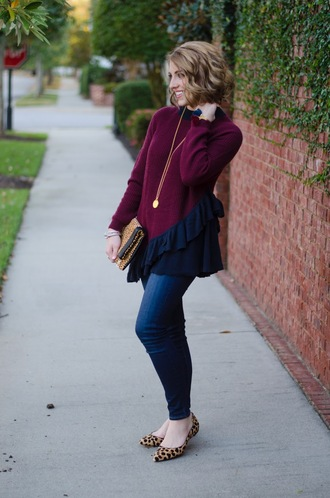 something delightful blogger sweater jewels bag ballet flats clutch thanksgiving outfit ruffle sweater ruffle burgundy burgundy sweater skinny jeans necklace