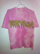 t-shirt,grunge,nirvana,tie dye,pink,kawaii,dip dyed