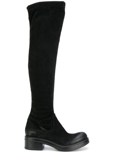 high women chunky boots leather suede black shoes
