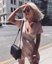 dress,pink,pink dress,light pink,summer,short dress,romper