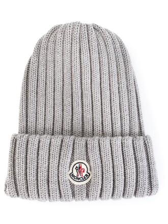 knit women beanie wool grey hat