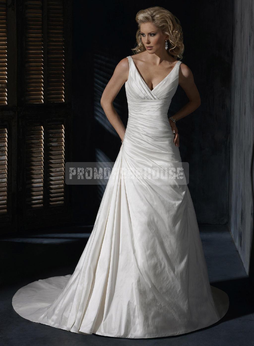 V-neck Taffeta Chapel Train Ruching Lace-up Wedding Dress - Promdresshouse.com