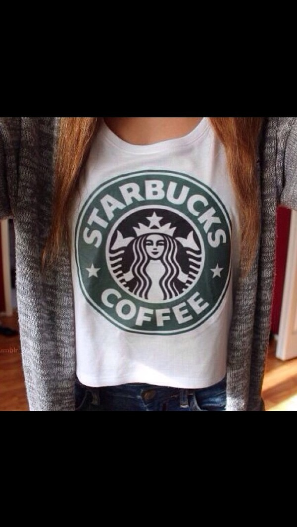 shirt white tank top starbucks coffee coffee