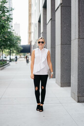 bows&sequins,blogger,shirt,jeans,shoes,jewels,sunglasses,bag,sleeveless,sleeveless top,white top,ruffle,ruffled top,black ripped jeans,ripped jeans,aviator sunglasses,black sunglasses,mules,black mules,ruffle shirt