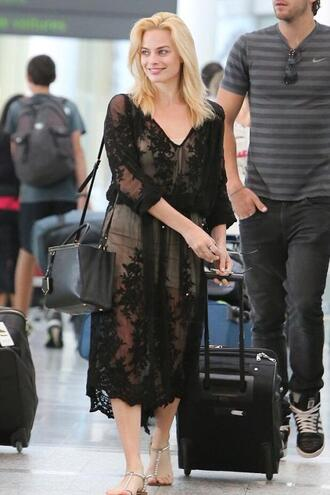dress black dress sheer margot robbie sandals summer dress