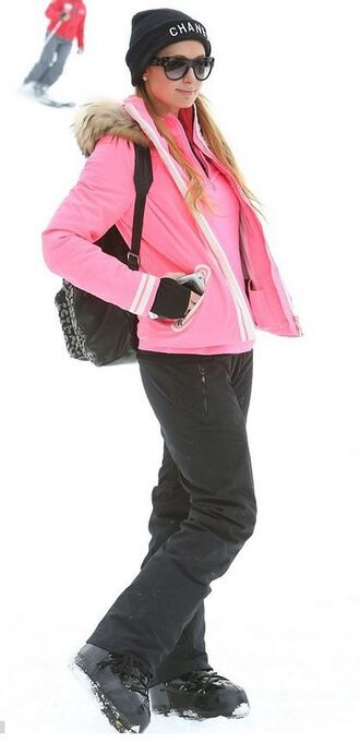 pants beanie paris hilton winter outfits pink hat