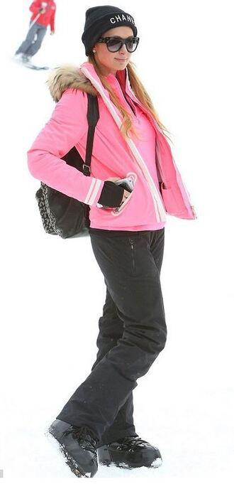 pants beanie paris hilton winter outfits pink