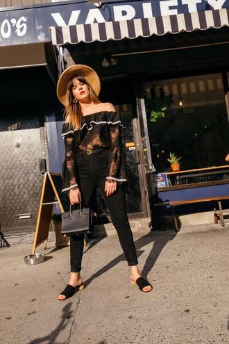 top black jeans hat tumblr black top off the shoulder off the shoulder top lace top denim jeans bag shoes mules sun hat