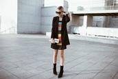 cara loren,blogger,dress,jacket,shoes,sunglasses,clutch,boots,sock boots,blazer,winter outfits
