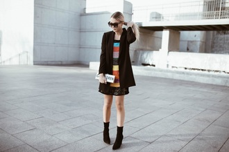 cara loren blogger dress jacket shoes sunglasses clutch boots sock boots blazer winter outfits