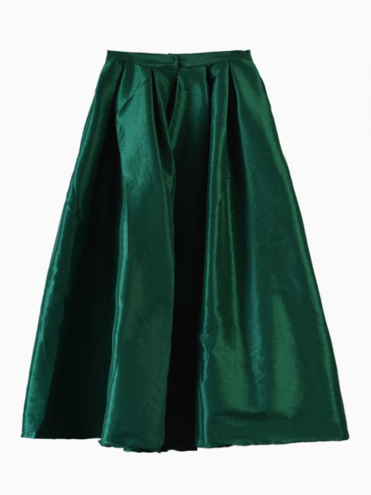 Dark Green Flare Pleated Midi Skirt - Sheinside.com