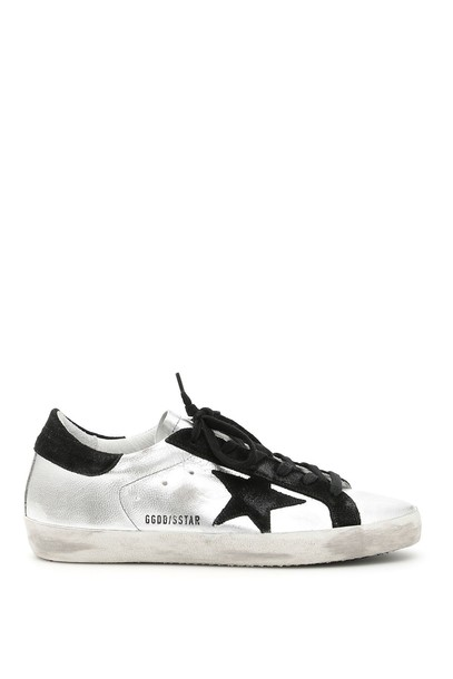 Golden goose sneakers silver black shoes