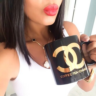 home accessory accessory cup kitchen chanel black gold mug jewels dope