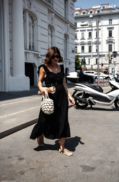 bag,sandals,black dress,midi dress,chain,sunglasses
