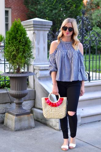 out+outfit blogger top hat bag sunglasses sandals basket bag black jeans summer outfits