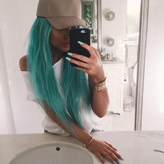 jewels kylie jenner hat jewelry bracelets stacked bracelets kylie jenner jewelry keeping up with the kardashians celebrity style cap arm candy blue hair