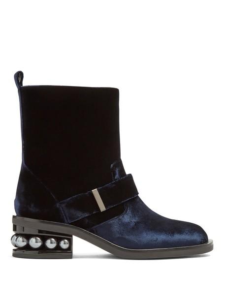 Nicholas Kirkwood velvet ankle boots pearl ankle boots velvet navy shoes