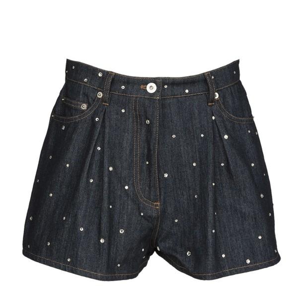 shorts denim shorts denim embroidered blue