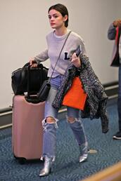 sweater,jeans,denim,lucy hale,boots,fall outfits,shoes,metallic shoes